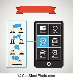 comunicazione mobile, silhouette, moderno, telefono