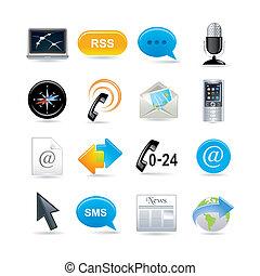 comunicazione, set, icone