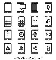 comunicazione, set., vettore, icona, telefono