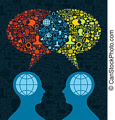 comunicazione, sociale, cervello, media