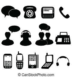 comunicazione, telefono, icone