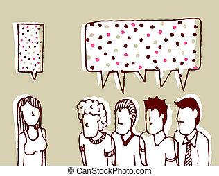 comunicazione, uomini, -, /, conversatore, dialogo, dolce, donne