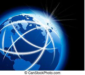 comunicazioni, globo globale, intorno, mondo