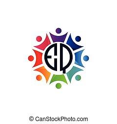 comunità, colorito, lettere, eq, logotipo, iniziale