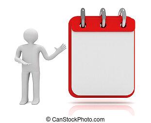 concept., 3d, uomo, bianco, calendario, illustrazione