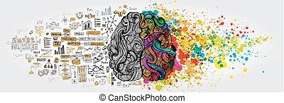 concept., affari, cervello umano, scarabocchiare, sinistra, destra, logica, parte, creativo, sociale