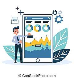 concept., analisi, analytics, stare in piedi, dati, uomo