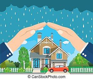 concept., assicurazione casa