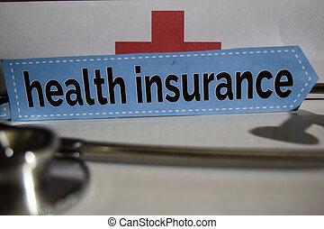 concept., assicurazione, salute, messaggio, stetoscopio, cura