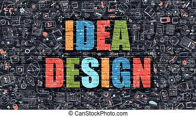 concept., brickwall., idea, scuro, disegno, multicolor