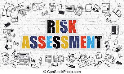 concept., brickwall., rischio, bianco, valutazione, multicolor