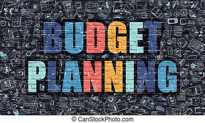 concept., brickwall., scuro, budget, pianificazione, multicolor