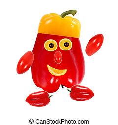 concept., cibo, ritratto, fatto, divertente, pepper., creativo