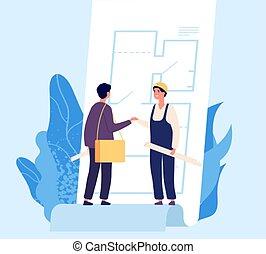 concept., costruzione, scuotere, architetto, contratto, accordo, costruttore, vettore, hands., illustrazione, disegno