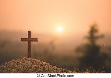 concept., cross., cristiano, sunset., crocifissione, cristo, gesù, legno, pasqua, christ., croce, risurrezione