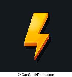 concept., energia, carica, lampo, potere, icona, icon., vettore, illustrazione, 3d, cartone animato, style.