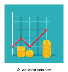 concept., finanziario, roi, crescita, esecuzione, arrow., ritorno, investimento, illustrazione, finanza