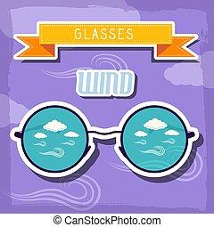 concept., illustrazione, vettore, disegno, retro, fondo, tempo, occhiali