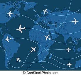concept., illustrazione, vettore, mondo, aeroplano, viaggiare