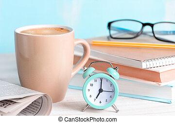 concept., inizio, caffè, mattina, giorno, buono