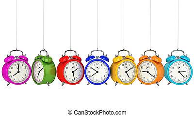 concept., orologio, 3d., allarme, tempo