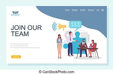 concept., persone, pagina, appartamento, squadra affari, gruppo, lavoro squadra, squadra, atterraggio, unire, nostro, template.