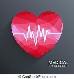 concept., polygonal, vettore, cuore, medico, fondo, web, sagoma, illustrazione, mobile