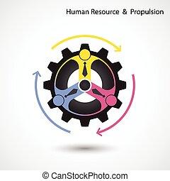 concept., propulsione, umano, &, affari, risorsa, industriale