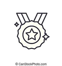 concept., sport, vettore, nero, simbolo, appartamento, icona, medaglia, segno, illustration.