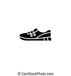concept., sport, vettore, nero, simbolo, appartamento, icona, scarpe, segno, illustration.