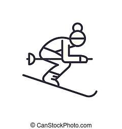 concept., sport, vettore, nero, simbolo, appartamento, icona, segno, inverno, illustration.