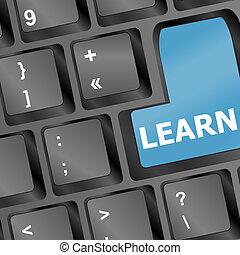 concept., tastiera, vettore, chiave, internet, educazione, learn.