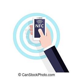 concept., vettore, comunicazione, near-field, icon., nfc, mobile, pagamento, contactless, technology., appartamento