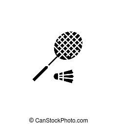concept., vettore, nero, badminton, simbolo, appartamento, icona, segno, illustration.