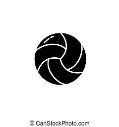 concept., vettore, nero, pallavolo, simbolo, appartamento, icona, segno, illustration.