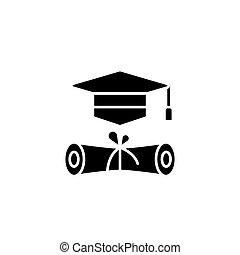 concept., vettore, nero, simbolo, appartamento, icona, segno, graduazione, illustration.