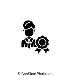 concept., vettore, nero, simbolo, appartamento, icona, segno, laureato, illustration.