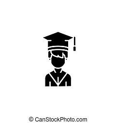 concept., vettore, nero, simbolo, appartamento, icona, segno, studente, illustration.