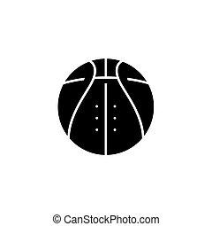 concept., vettore, nero, simbolo, pallacanestro, appartamento, icona, segno, illustration.