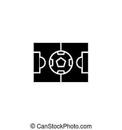 concept., vettore, nero, stadio, simbolo, appartamento, icona, segno, illustration.