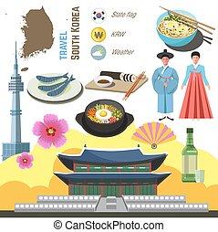 concept., viaggiare, direzione, cultura, sud corea, set., seoul, simbolo
