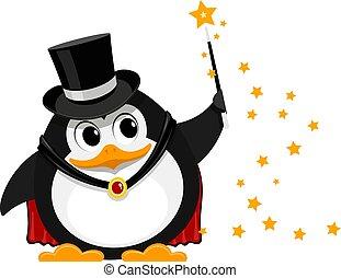 concert., divertente, pinguino, magia, immagine, mago, giovane, illustrazione, wand., vettore, piccolo, mago, cartone animato, magician., palcoscenico