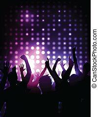 concerto, folla, -, applauso, vettore, fondo