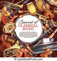 concerto, manifesto, strumento, disegno, musica, musicale