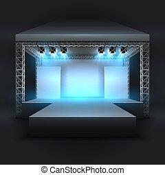 concerto, mostra, beams., podio, vettore, musica, vuoto, esecuzione, palcoscenico, fondale, riflettori