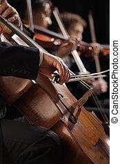 concerto, violoncello, su, mano, sinfonia, chiudere, gioco, uomo