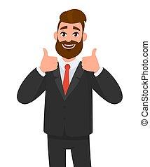 concetto, accettare, pollici, ritratto, style., vestito, affare, uomo nero, eccitato, essere d'accordo, affari, segno., illustrazione, indossare, come, cartone animato, formale, esposizione, su, vettore, approvare