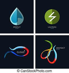 concetto, affari, collezione, icone