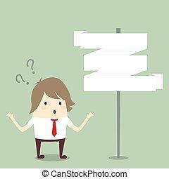 concetto, affari, confuso, scelta, scegliere, uomo affari