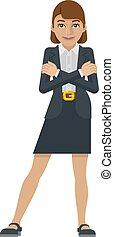 concetto, affari donna, mascotte